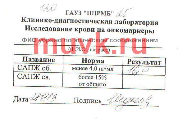 Опухолевый маркер САПЖ до приема продуктов Каяни, 28.11.2013
