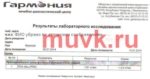 Опухолевый маркер САПЖ  (ПСА) после приема продуктов Каяни, 13.01.2014